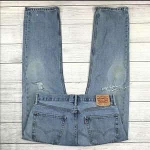 Levi's 505 Straight Leg Distressed Ripped Jeans